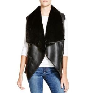 Blank NYC Faux leather and fur vest